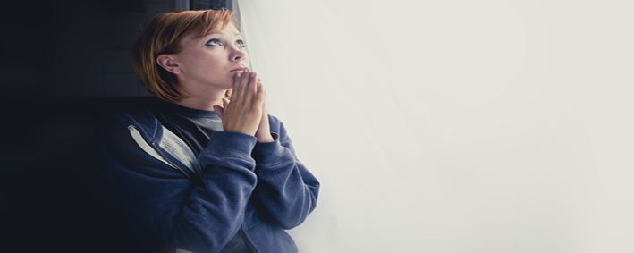Attractive Woman Suffering Depression Saying A Prayer To God For