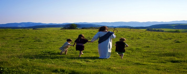 Jesus walking with children